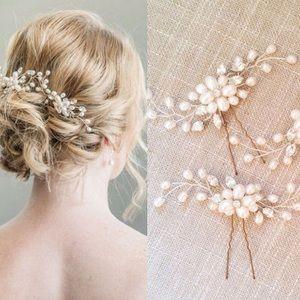 Hair pin pearl clip 2 piece bridal comb pin new